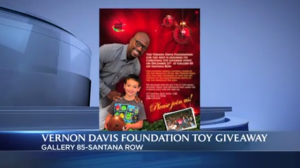 The Vernon Davis Foundation for the Arts will be hosting a Christmas Toy Giveaway Event December 21st at Gallery 85!